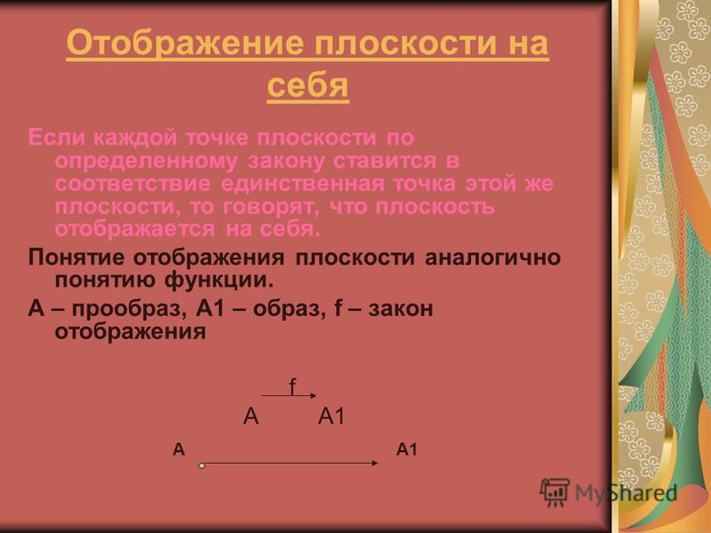 Отображение плоскости на себя Если каждой точке плоскости по определенному закону ставится в соответствие единственная точка этой же плоскости, то говорят, что плоскость отображается на себя. Понятие отображения плоскости аналогично понятию функции.