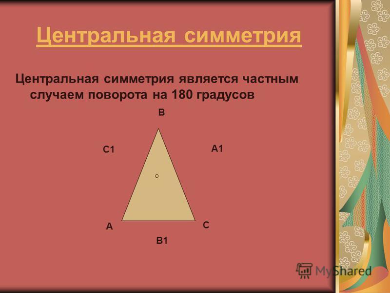 Центральная симметрия Центральная симметрия является частным случаем поворота на 180 градусов А В С С1 А1 В1