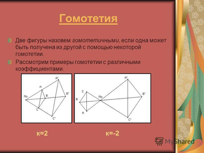Гомотетия Две фигуры назовем гомотетичными, если одна может быть получена из другой с помощью некоторой гомотетии. Рассмотрим примеры гомотетии с различными коэффициентами. к=2 к=-2