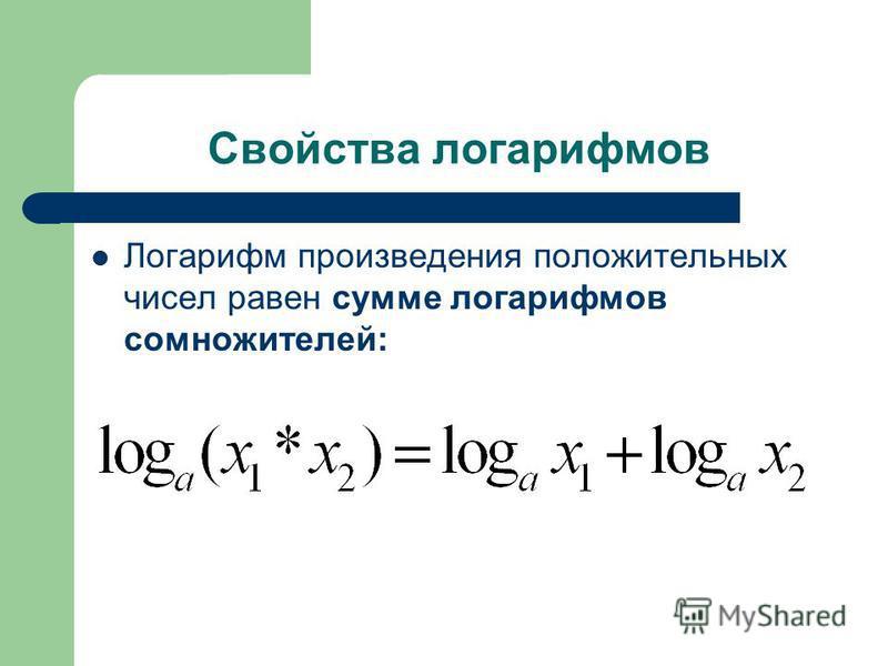 Свойства логарифмов Логарифм произведения положительных чисел равен сумме логарифмов сомножителей: