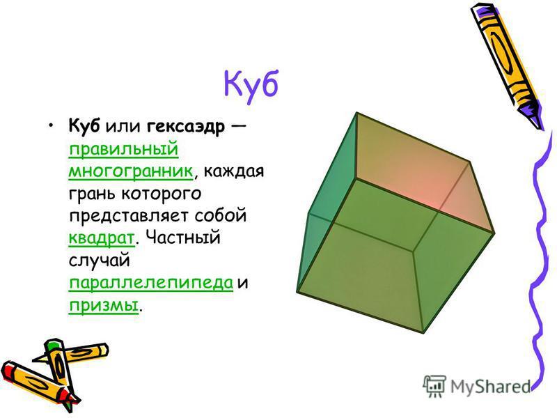 Куб Куб или гексаэдр правильный многогранник, каждая грань которого представляет собой квадрат. Частный случай параллелепипеда и призмы. правильный многогранник квадрат параллелепипеда призмы