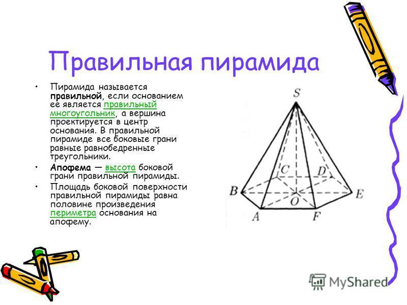 Правильная пирамида Пирамида называется правильной, если основанием ее является правильный многоугольник, а вершина проектируется в центр основания. В правильной пирамиде все боковые грани равные равнобедренные треугольники.правильный многоугольник А