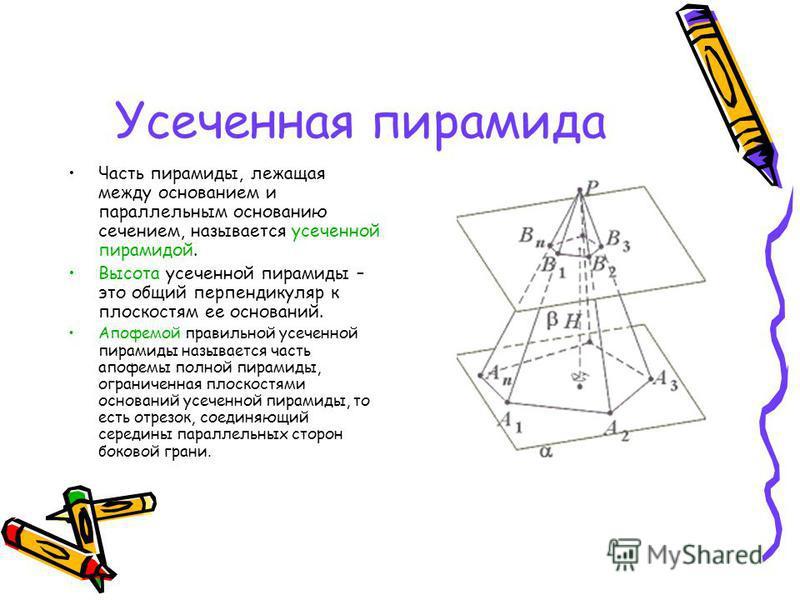 Усеченная пирамида Часть пирамиды, лежащая между основанием и параллельным основанию сечением, называется усеченной пирамидой. Высота усеченной пирамиды – это общий перпендикуляр к плоскостям ее оснований. Апофемой правильной усеченной пирамиды назыв