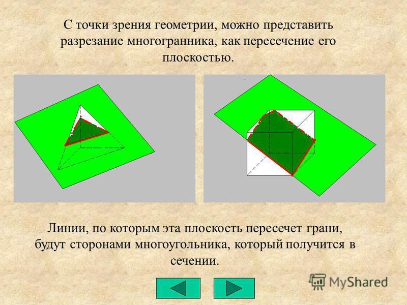 С точки зрения геометрии, можно представить разрезание многогранника, как пересечение его плоскостью. Линии, по которым эта плоскость пересечет грани, будут сторонами многоугольника, который получится в сечении.