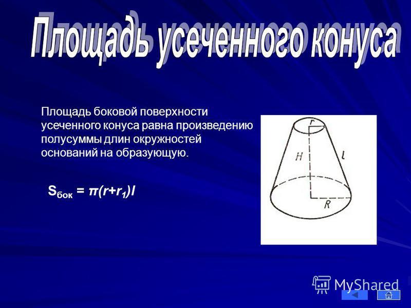 Площадь боковой поверхности усеченного конуса равна произведению полусуммы длин окружностей оснований на образующую. S бок = π(r+r 1 )l