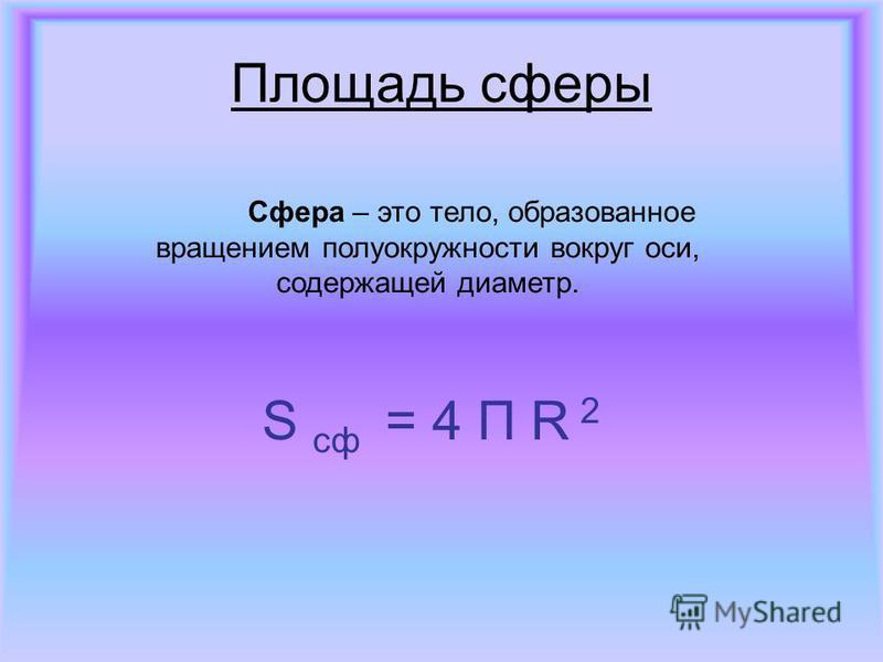 Площадь сферы Сфера – это тело, образованное вращением полуокружности вокруг оси, содержащей диаметр. S сф = 4 П R 2