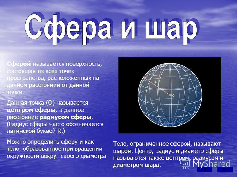 Сферой называется поверхность, состоящая из всех точек пространства, расположенных на данном расстоянии от данной точки. Данная точка (О) называется центром сферы, а данное расстояние радиусом сферы. (Радиус сферы часто обозначается латинской буквой