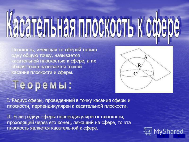 Плоскость, имеющая со сферой только одну общую точку, называется касательной плоскостью к сфере, а их общая точка называется точкой касания плоскости и сферы. I. Радиус сферы, проведенный в точку касания сферы и плоскости, перпендикулярен к касательн