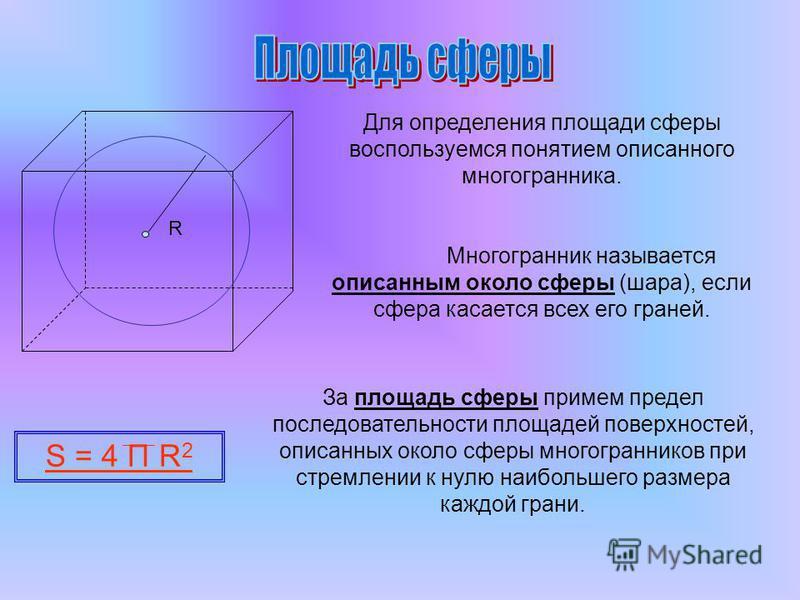 Для определения площади сферы воспользуемся понятием описанного многогранника. Многогранник называется описанным около сферы (шара), если сфера касается всех его граней. За площадь сферы примем предел последовательности площадей поверхностей, описанн