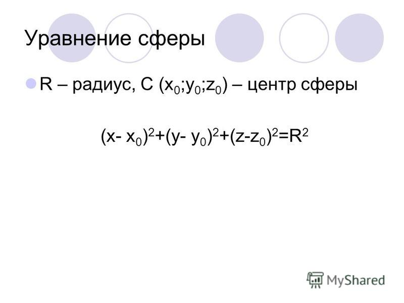 Уравнение сферы R – радиус, C (x 0 ;y 0 ;z 0 ) – центр сферы (x- x 0 ) 2 +(y- y 0 ) 2 +(z-z 0 ) 2 =R 2