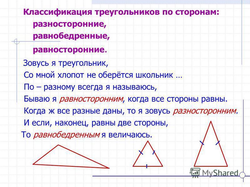 Зовусь я треугольник, Со мной хлопот не оберётся школьник … По – разному всегда я называюсь, Бываю я равносторонним, когда все стороны равны. Когда ж все разные даны, то я зовусь разносторонним. И если, наконец, равны две стороны, То равнобедренным я
