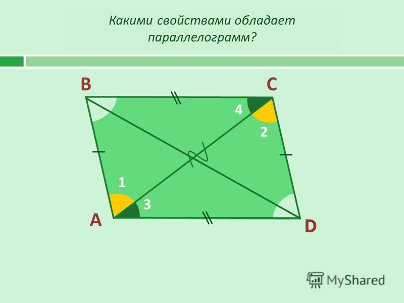 А ВС D 1 2 3 4 Какими свойствами обладает параллелограмм ?