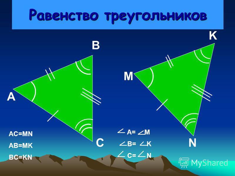 Тема урока «Первый признак равенства треугольников» Цели урока:1) работа с понятиями: равные треугольники, соответствующие элементы треугольников, угол между сторонами;2)формирование навыков решения задач на применение первого признака равенства треу