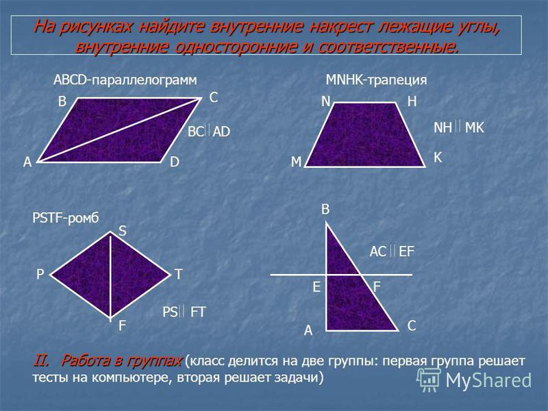 На рисунках найдите внутренние накрест лежащие углы, внутренние односторонние и соответственные. A ABCD-параллелограмм B C D MNHK-трапеция M NH K PSTF-ромб P S T F A B C EF BC AD NH MK PS FT AC EF II.Работа в группах II.Работа в группах (класс делитс