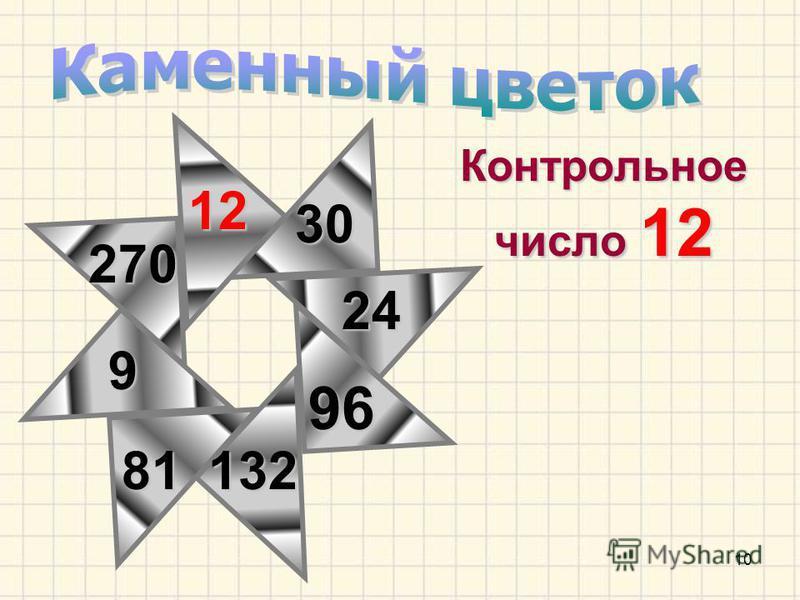 10 Контрольное число 12 270 30 9 81 12 96 132 24