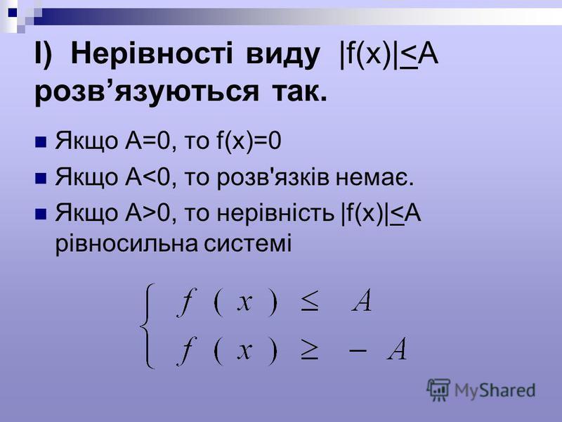 I) Нерівності виду |f(x)|<A розвязуються так. Якщо А=0, то f(x)=0 Якщо А<0, то розв'язків немає. Якщо А>0, то нерівність |f(x)|<A рівносильна системі