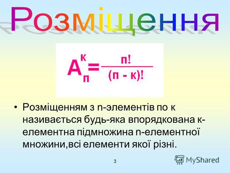 3 Розміщенням з n-элементів по к називається будь-яка впорядкована к- елементна підмножина n-елементної множини,всі елементи якої різні.