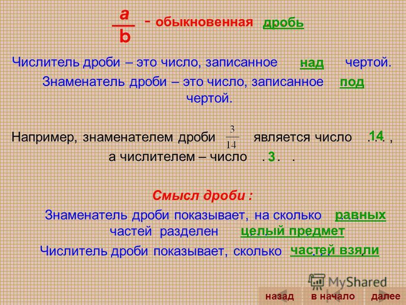 7 3 = - знаменатель (показывает, на сколько равных частей разделили целый предмет) - числитель (показывает, сколько частей взяли) Смысл дроби :