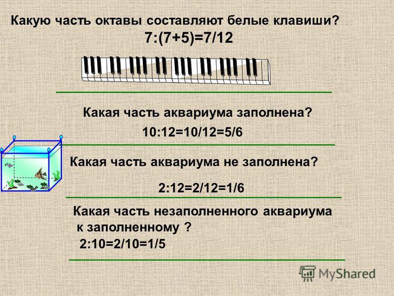 Какую часть октавы составляют белые клавиши? 7:(7+5)=7/12 Какая часть аквариума заполнена? 10:12=10/12=5/6 Какая часть аквариума не заполнена? 2:12=2/12=1/6 Какая часть незаполненного аквариума к заполненному ? 2:10=2/10=1/5