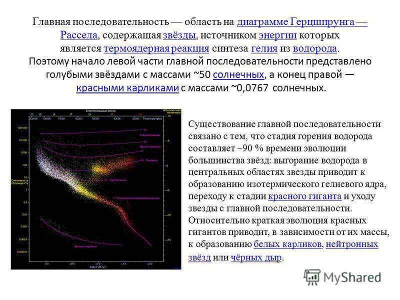 Главная последовательность область на диаграмме Герцшпрунга Рассела, содержащая звёзды, источником энергии которых является термоядерная реакция синтеза гелия из водорода. Поэтому начало левой части главной последовательности представлено голубыми зв
