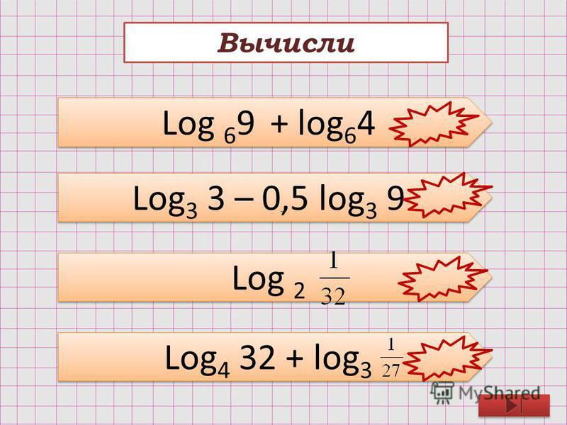 Вычисли Log 6 9 + log 6 4 Log 3 3 – 0,5 log 3 9 Log 2 Log 4 32 + log 3