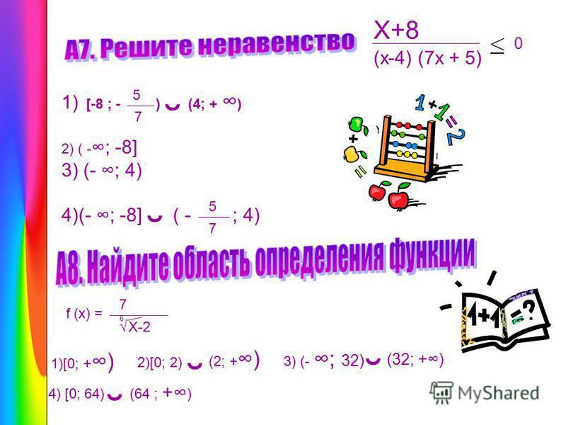 X+8 1) [-8 ; - ) (4; + ) 2) ( - ; -8] 3) (- ; 4) 4)(- ; -8] ( - ; 4) (x-4) (7x + 5) 5 7 ˘ ˘ 5 7 f (x) = 7 X-2 6 1)[0; + ) 2)[0; 2) ˘ (2; + ) 3) (- ; 32) ˘ (32; +) 4) [0; 64) ˘ (64 ; + ) 0