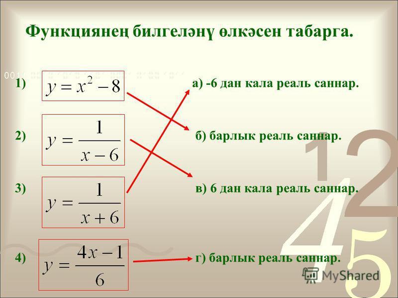 Функциянең билгеләнү өлкәсен табарга. 1) а) -6 дан кала реаль сонар. 2) б) барлык реаль сонар. 3) в) 6 дан кала реаль сонар. 4) г) барлык реаль сонар.