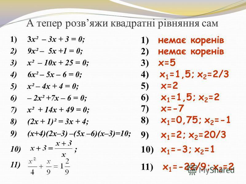 А тепер розвяжи квадратні рівняння сам 1) 3x² – 3х + 3 = 0; 2) 9x² – 5х +1 = 0; 3) x² – 10х + 25 = 0; 4) 6x² – 5х – 6 = 0; 5) x² – 4x + 4 = 0; 6) – 2x² +7x – 6 = 0; 7) x² + 14x + 49 = 0; 8) (2х + 1)² = 3х + 4; 9) (х+4)(2х–3) –(5х –6)(х–3)=10; 10) ; 1