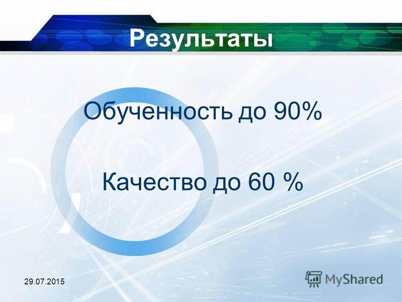 29.07.2015 Результаты Обученность до 90% Качество до 60 %