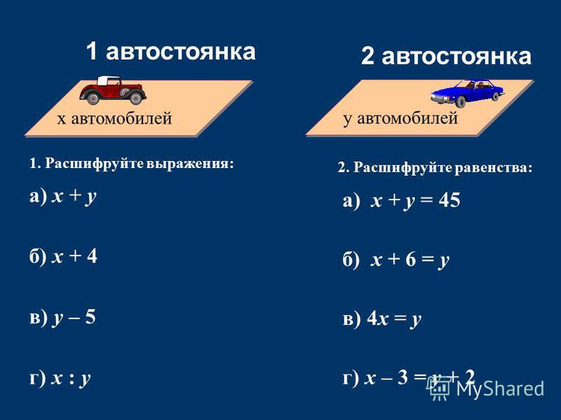 x автомобилей y автомобилей 1 автостоянка 2 автостоянка 1. Расшифруйте выражения: а) х + у б) x + 4 в) y – 5 г) x : y 2. Расшифруйте равенства: а) х + у = 45 б) x + 6 = y в) 4x = y г) x – 3 = y + 2