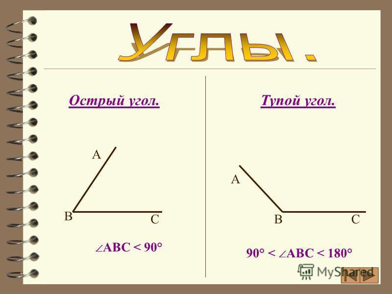 Развернутый угол.Прямой угол. АВС = 180° АВС = 90° А А В В СС