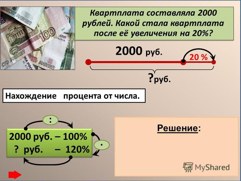 Квартплата составляла 2000 рублей. Какой стала квартплата после её увеличения на 20%? 2000 руб. 20 % ? руб. 2000 руб. – 100% ? руб. – 120% 2000 руб. – 100% ? руб. – 120% :. Нахождение процента от числа. 1) 2000 : 100 = 20 (руб.)-1% 2) 20. 120 = 2400