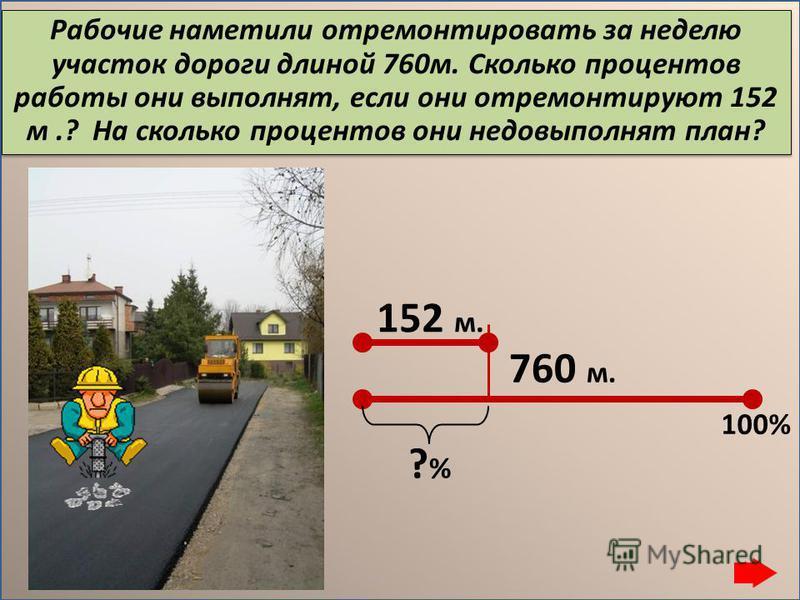 Рабочие наметили отремонтировать за неделю участок дороги длиной 760 м. Сколько процентов работы они выполнят, если они отремонтируют 152 м.? На сколько процентов они недовыполнят план? 152 м. 760 м. ?%?% 100%