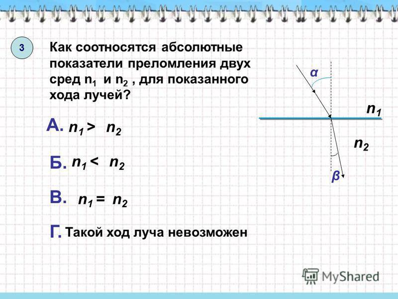 3 Как соотносятся абсолютные показатели преломления двух сред n 1 и n 2, для показанного хода лучей? α β n1 <n1 < n2n2 А. n1 >n1 >n2n2 Б. n1n1 n2n2 В. n2n2 n1 =n1 = Г. Такой ход луча невозможен