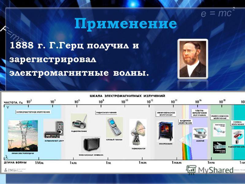 Применение 1888 г. Г.Герц получил и зарегистрировал электромагнитные волны.