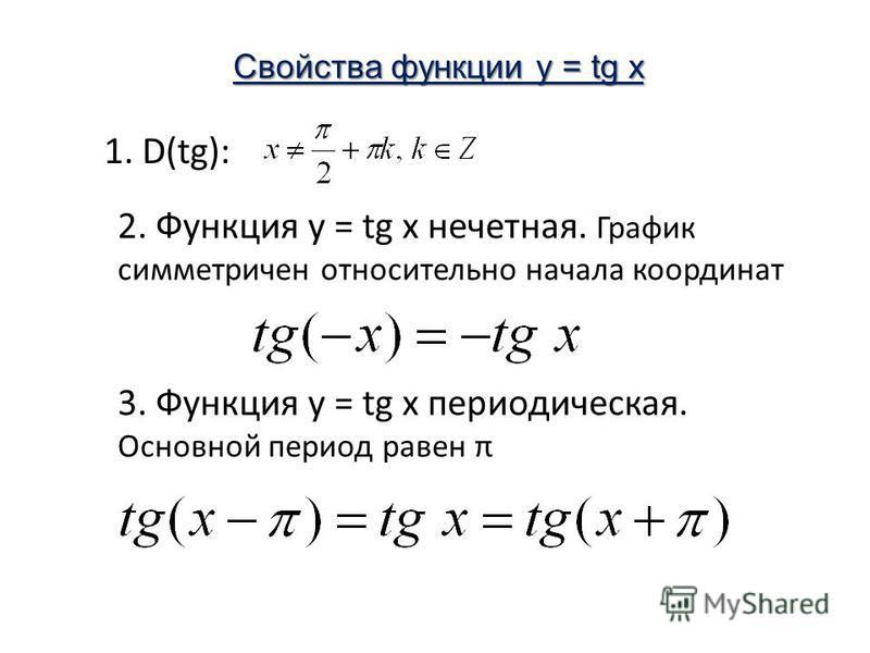 1. D(tg): 2. Функция у = tg x нечетная. График симметричен относительно начала координат Свойства функции y = tg x 3. Функция у = tg x периодическая. Основной период равен π