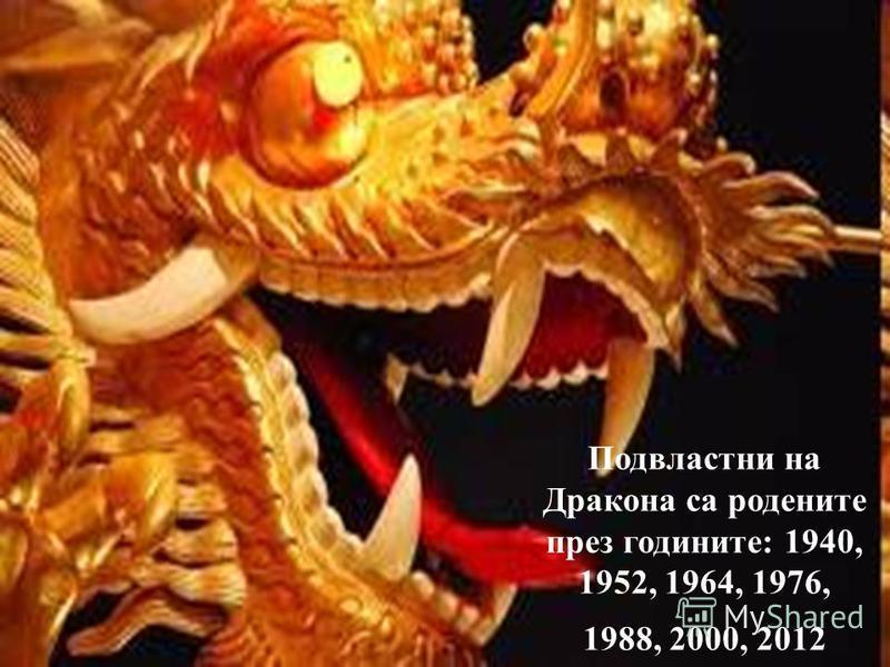 Подвластни на Дракона са родените през годините: 1940, 1952, 1964, 1976, 1988, 2000, 2012