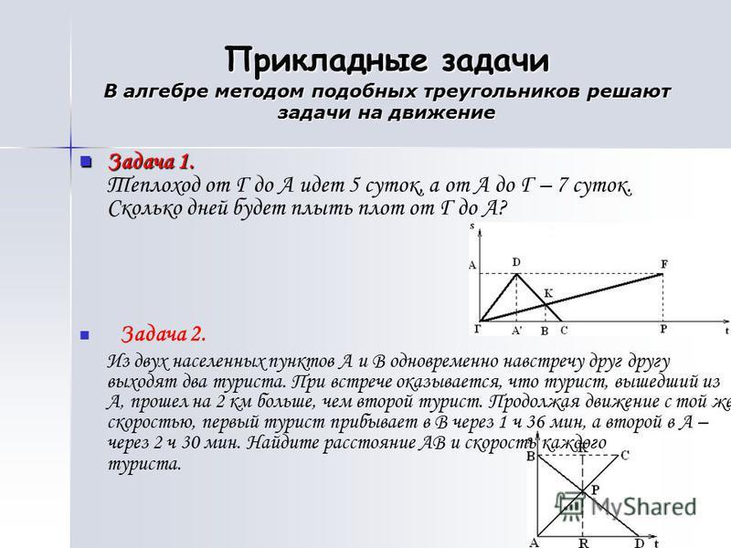 Прикладные задачи В алгебре методом подобных треугольников решают задачи на движение Задача 1. Задача 1. Теплоход от Г до А идет 5 суток, а от А до Г – 7 суток. Сколько дней будет плыть плот от Г до А? Задача 2. Из двух населенных пунктов А и В однов