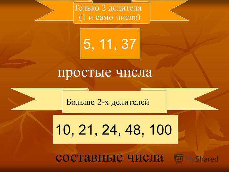 5, 11, 37 10, 21, 24, 48, 100 Только 2 делителя Больше 2-х делителей простые числа составные числа (1 и само число)