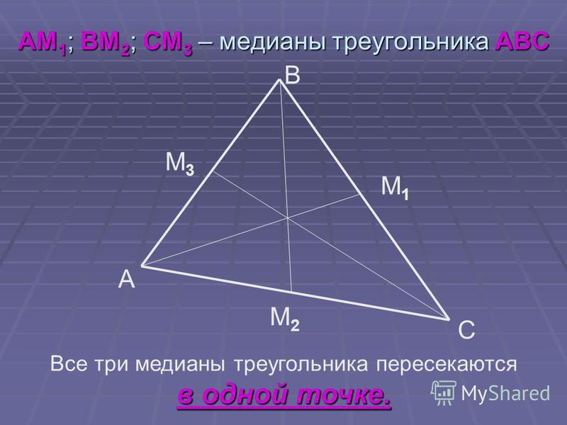 АМ 1 ; ВМ 2 ; СМ 3 – медианы треугольника АВС B A C М1М1 М2М2 М3М3 Все три медианы треугольника пересекаются в одной точке.