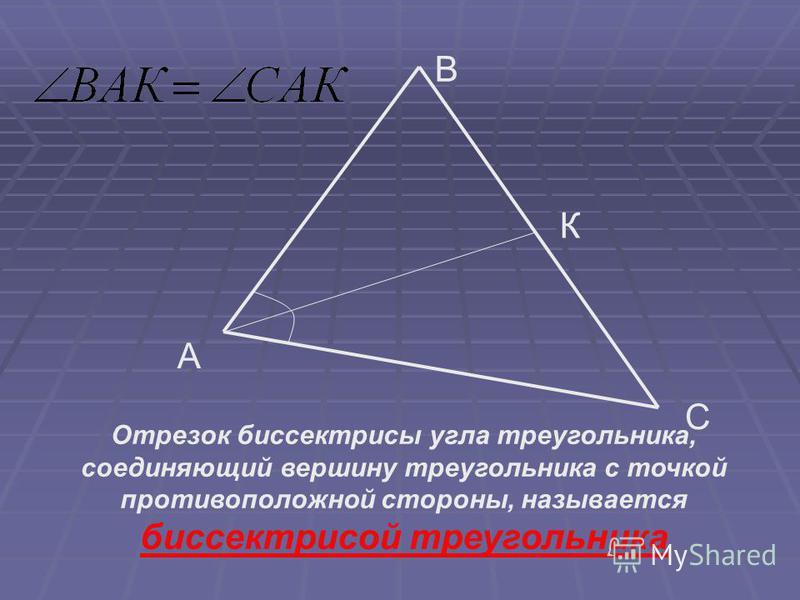 A В С К Отрезок биссектрисы угла треугольника, соединяющий вершину треугольника с точкой противоположной стороны, называется биссектрисой треугольника