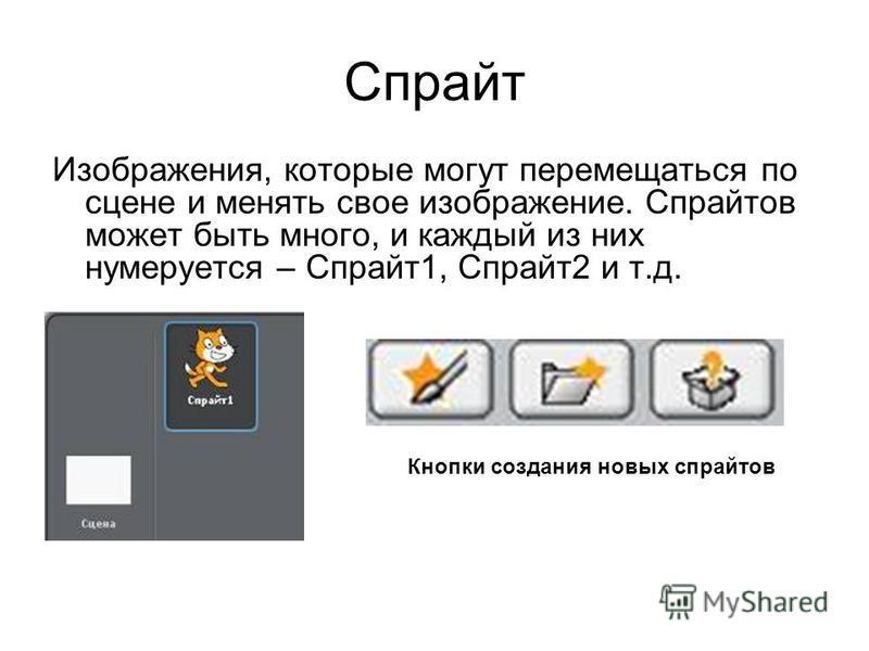 Спрайт Изображения, которые могут перемещаться по сцене и менять свое изображение. Спрайтов может быть много, и каждый из них нумеруется – Спрайт 1, Спрайт 2 и т.д. Кнопки создания новых спрайтов