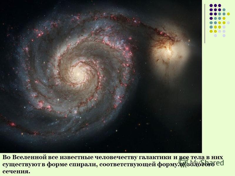 Во Вселенной все известные человечеству галактики и все тела в них существуют в форме спирали, соответствующей формуле золотого сечения.
