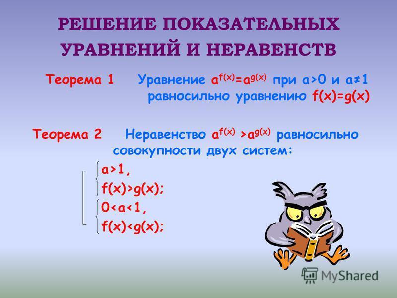 РЕШЕНИЕ ПОКАЗАТЕЛЬНЫХ УРАВНЕНИЙ И НЕРАВЕНСТВ Теорема 1 Уравнение а f(x) =а g(x) при а>0 и а 1 равносильно уравнению f(x)=g(x) Теорема 2 Неравенство а f(x) >а g(x) равносильно совокупности двух систем: а>1, f(x)>g(x); 0<а<1, f(x)<g(x);