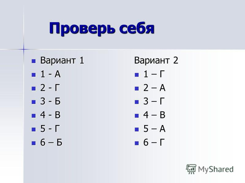 Проверь себя Проверь себя Вариант 1 Вариант 1 1 - А 1 - А 2 - Г 2 - Г 3 - Б 3 - Б 4 - В 4 - В 5 - Г 5 - Г 6 – Б 6 – Б Вариант 2 1 – Г 1 – Г 2 – А 2 – А 3 – Г 3 – Г 4 – В 4 – В 5 – А 5 – А 6 – Г 6 – Г
