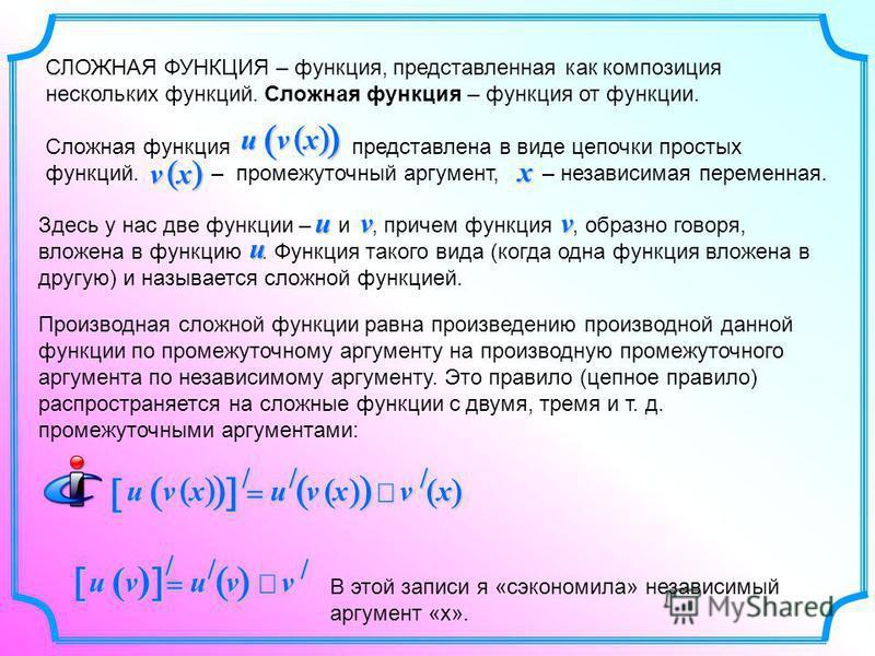 СЛОЖНАЯ ФУНКЦИЯ – функция, представленная как композиция нескольких функций. Сложная функция – функция от функции. Сложная функция представлена в виде цепочки простых функций. – промежуточный аргумент, – независимая переменная. Производная сложной фу