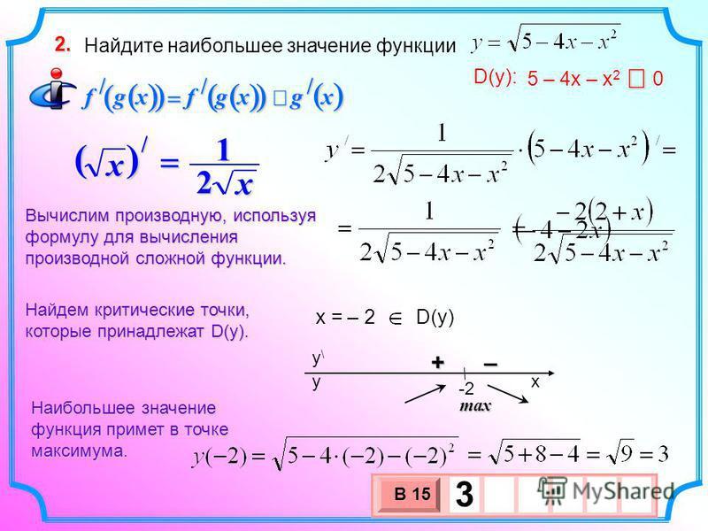 Найдите наибольшее значение функции 2. xgxgfxgf /// 5 – 4 х – х 2 0 D(y): x = – 2 D(y) Найдем критические точки, которые принадлежат D(у). Вычислим производную, используя формулу для вычисления производной сложной функции. х () х 2 1 / – + x y\y\ y -