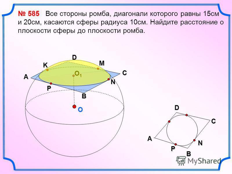 O D N B P A O1O1O1O1 C D A B 585 585 Все стороны ромба, диагонали которого равны 15 см и 20 см, касаются сферы радиуса 10 см. Найдите расстояние о плоскости сферы до плоскости ромба. M K CNP