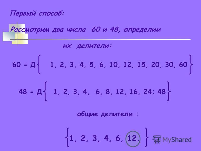 Первый способ: Рассмотрим два числа 60 и 48, определим их делители: 60 = Д 1, 2, 3, 4, 5, 6, 10, 12, 15, 20, 30, 60 48 = Д 1, 2, 3, 4, 6, 8, 12, 16, 24; 48 общие делители : 1, 2, 3, 4, 6, 12.