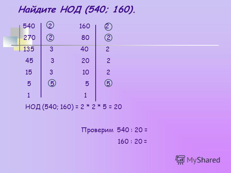 Найдите НОД (540; 160). 540 2 160 2 270 2 80 2 135 3 40 2 45 3 20 2 15 3 10 2 5 5 5 5 1 1 НОД (540; 160) = 2 * 2 * 5 = 20 Проверим 540 : 20 = 160 : 20 =
